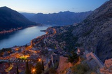View of Bay of Kotor from Fortress at Dusk  Kotor  UNESCO World Heritage Site  Montenegro  Europe
