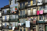 A Residential Street in Old Town with Traditional Wrought Iron Balconies  Oporto  Portugal