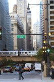 El Train Crossing North Clark Street  the Loop  Chicago  Illinois  United States of America