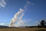 Old Faithful Geyser Erupting in Evening Light  Yellowstone Nat'l Pk  UNESCO Site  Wyoming  USA