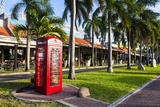 Red Telephone Box in Downtown Oranjestad  Capital of Aruba  ABC Islands  Netherlands Antilles