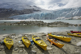Kayaks  Austdalsbreen Glacier  Styggevatnet Lake  Jostedalsbreen Icecap  Sogn Og Fjordane  Norway