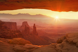 Sunrise over La Sal Mountains  Washer Woman Arch and Mesa Arch  Canyonlands Nat'l Pk  Utah  USA