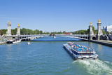 River Seine Cruise Boat  Bateaux Mouches and the Pont Alexandre III Bridge  Paris  France  Europe