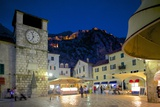 Old Town Clock Tower and Fort at Dusk  Old Town  UNESCO World Heritage Site  Kotor  Montenegro