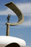 Memorial JK with the Statue of Juscelino Kubitschek  Designed by Oscar Niemeyer  Brasilia  Brazil
