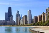 Chicago Cityscape from North Avenue Beach  John Hancock Center on the Left  Chicago  Illinois  USA