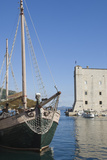 A Local Tourist Boat Moored in the Old Harbour  Old City  Dubrovnik  UNESCO Site  Croatia