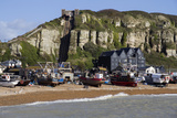 Fishing Fleet Drawn Up on Beach and East Hill Lift  Hastings  Sussex  England  United Kingdom