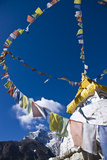 Prayer Flags and Buddhist Stupa  Namche Bazaar  Solu Khumbu Region  Nepal  Himalayas  Asia