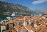 View over Old Town  UNESCO World Heritage Site  with Cruise Ship in Port  Kotor  Montenegro  Europe