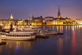 City Skyline from City Hall at Dusk  Kungsholmen  Stockholm  Sweden  Scandinavia  Europe