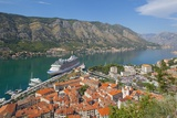 View over Old Town and Cruise Ship in Port  Kotor  UNESCO World Heritage Site  Montenegro  Europe