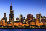 Chicago Skyline and Lake Michigan at Dusk with the Willis Tower on the Left  Chicago  Illinois  USA