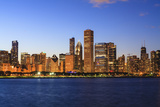 Chicago Skyline and Lake Michigan at Dusk  Chicago  Illinois  United States of America