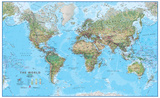 World Physical 1:30 Wall Map  Laminated Educational Poster