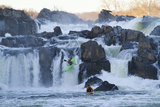 Kayakers Running Great Falls of the Potomac River