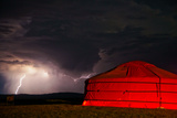 A Lightning Storm Builds over a Ger on the Mongolian Steppe