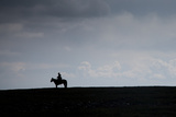 A Man on Horseback on the Mongolian Steppe