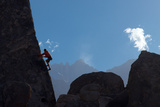 A Climber on the 'sharks Fin' Formation; Mt Whitney in the Background