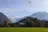 A Paraglider with a View of Jungfrau Mountain from Interlaken