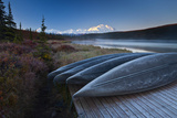 Canoes Lined Up on a Dock at Wonder Lake in Front of Mt Mckinley