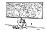 Two mathematicians sitting beneath a giant chalkboard smoking - New Yorker Cartoon