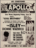 Apollo Theatre Ad: Soul Brothers  Isley Brothers  Dionne Warwick  Five Royales  Charades  Carletons