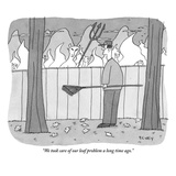 """We took care of our leaf problem a long time ago"" - New Yorker Cartoon"