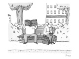 Two men on a bench One is eating a sandwich  the other is looking through… - New Yorker Cartoon