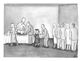 People are in line to be served portions of a roasted pig Shaking hands a… - New Yorker Cartoon