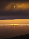 Sunset over Cook Inlet and Downtown Anchorage  Alaska