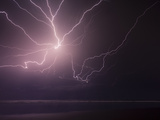 An Incredibly Strong  and Powerful Lightning Storm Caught over the Pacific Ocean of El Salvador