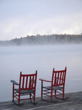 Two Red Rockers on Dock at Sunrise  Lake Mooselookmegontic  Maine