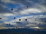 Balloons Soaring About Sandia Mountains During Albuquerque Balloon Fiesta