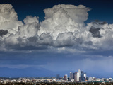 Downtown Los Angeles  California with Cumulonimbus Clouds Forming Overhead