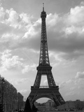 Black and White Eiffel Tower with Sky Background