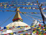 Boudhanath Stupa and Prayer Flags  Kathmandu  Nepal