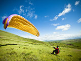 A Reverse Launch While Paragliding at Steptoe Butte on the Palouse in Eastern Washington