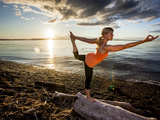 Yoga Position: Dance Pose on the Beach of Lincoln Park - West Seattle  Washington