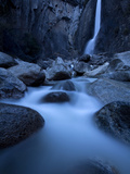 Yosemite National Park  California: Lower Yosemite Falls under Moonlight