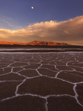 Patterns in the Salt Flats Stretch Out over Death Valley as a Clearing Storm Reveals the Moon