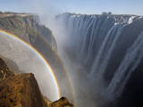 Two Rainbows Rest in Between Zimbabwe and Zambia Seen from the Zambian Side of Victoria Falls