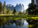 A Calm Reflection of the Cathedral Spires in Yosemite Valley in Yosemite  California
