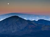 Moonrise over the Haleakala Crater   Haleakala National Park  Maui  Hawaii