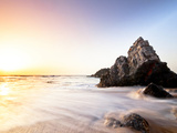 Sun Sets over the Rocks at the Local Beach of Praia Do Adraga