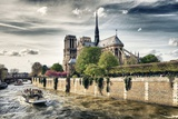 Notre Dame Cathedral - the banks of the Seine in Paris - France