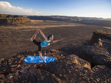 Dancer Pose During an Evening Outdoor Yoga Session at the Frenchman-Coulee in Central Washington