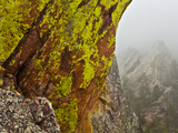 Rock Formations Seen Beyond Lichen Covered Rocks on the First Flatiron Above Boulder  Colorado