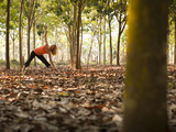 Lisa Eaton Takes Her Yoga Practice to a Rubber Tree Plantation in Chiang Dao  Thaialand